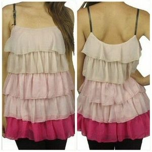 NWT Pink Ombre Ruffle Cami Tunic Size S
